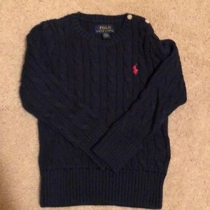 Navy blue Polo ribbed crew neck sweater